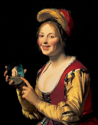 Smiling Girl, a Courtesan, Holding an Obscene Image by Gerard van Honthorst (1590–1656)