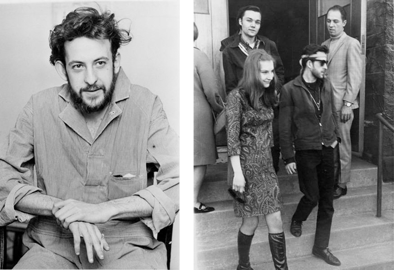Left: levy during his obscenity trial, 1967. Right: levy (bottom right) and friends leaving the Cuyahoga County Courthosue, 1967.