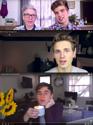 From top: Joey Graceffa and Tyler Oakley; Marcus Butler; Connor Franta.