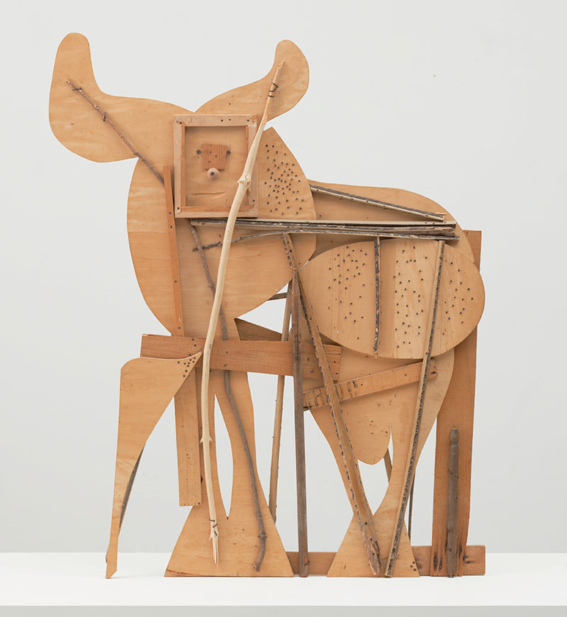 Pablo Picasso (Spanish, 1881–1973) Bull. Cannes, c. 1958. Plywood, tree branch, nails, and screws. 46 1/8 x 56 3/4 x 4 1/8″ (117.2 x 144.1 x 10.5 cm). The Museum of Modern Art, New York. Gift of Jacqueline Picasso in honor of the Museum's continuous commitment to Pablo Picasso's art. © 2015 Estate of Pablo Picasso / Artists Rights Society (ARS), New York.