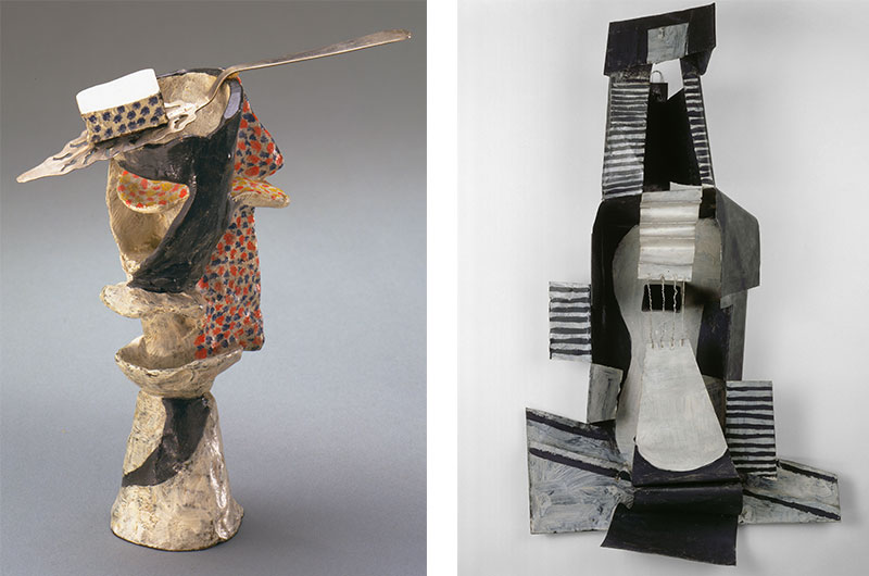 Left: Pablo Picasso (Spanish, 1881–1973) Glass of Absinthe. Paris, spring 1914. Painted bronze with absinthe spoon. 8 1/2 x 6 1/2 x 3 3/8″ (21.6 x 16.4 x 8.5 cm), diameter at base 2 1/2″ (6.4 cm) The Museum of Modern Art, New York. Gift of Louise Reinhardt Smith. © 2015 Estate of Pablo Picasso / Artists Rights Society (ARS), New York. Right: Pablo Picasso (Spanish, 1881–1973) Guitar Paris, 1924 Painted sheet metal, painted tin box, and iron wire 43 11/16 × 25 × 10 1/2 in. (111 × 63.5 × 26.6 cm) Musée national Picasso–Paris © 2015 Estate of Pablo Picasso/Artists Rights Society (ARS), New York