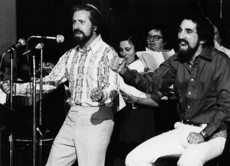 Z. David Levy (left) sings with and Cantor Theodore Aronson at a 1980 concert at Temple B'nai Or. Courtesy of the Jewish Historical Society of MetroWest.
