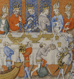 An elaborate entremet involving acrobats and boats given by Charles V of France