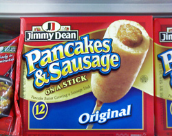 Because you wouldn't want an imitation pancake-wrapped sausage on a stick, I suppose.