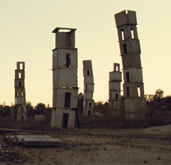 A concrete house of cards.