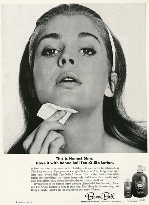 "The quest for ""honest skin."" Bonne Bell ad, from XX in XX."
