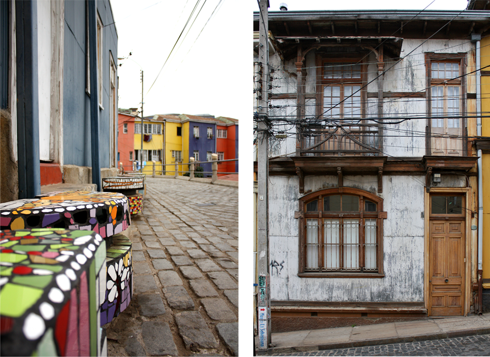 Left: Tile-decorated benches line a street in Valparaiso. Right: A metal-plated building.