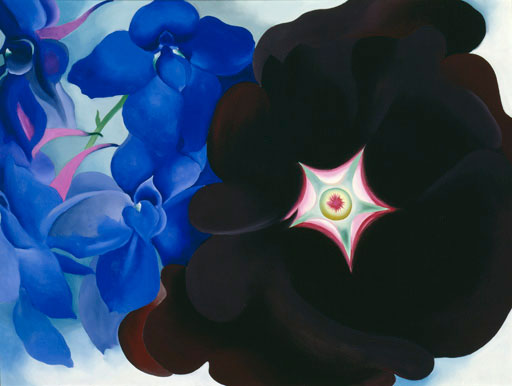 Black Hollyhock Blue Larkspur, 1930. Georgia O'Keeffe. Oil on canvas 30 ⅛ x 40 (76.5 x 101.6). Extended loan, private collection. © Georgia O'Keeffe Museum