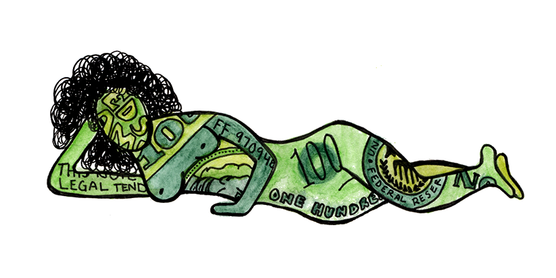 Seductive woman's body as a hundred dollar bill