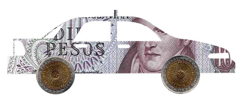 Taxi cab composed of Argentinian pesos